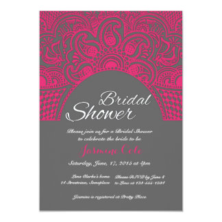 Indian Henna style pink bridal shower invitaitons 5x7 Paper Invitation Card