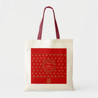 Indian Inspired Design Custom Tote in Red & Gold