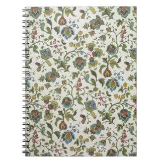Indian-inspired, floral design wallpaper, 1965-75 notebook
