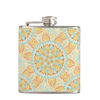 Indian Kaleidoscope Art Hip Flask