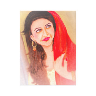 Indian Lady painting Canvas Print