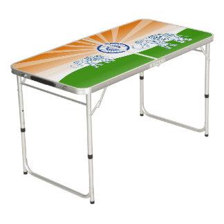 """Indian """"landscape"""" flag beer pong table"""