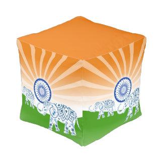 "Indian ""landscape"" flag pouf"
