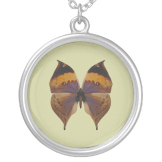 Indian Leaf Butterfly Round Pendant Necklace