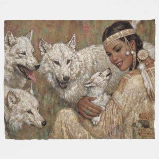 INDIAN MADIEN and WOLVES Fleece Blanket