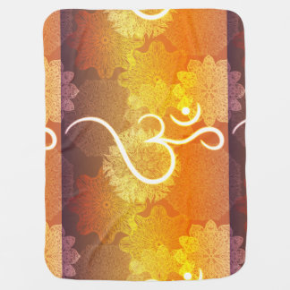 Indian ornament pattern with ohm symbol baby blanket
