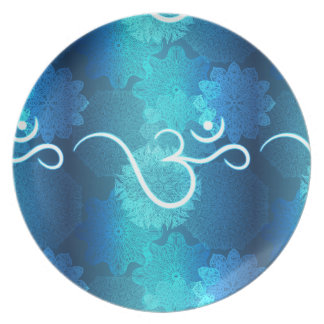 Indian ornament pattern with ohm symbol plate
