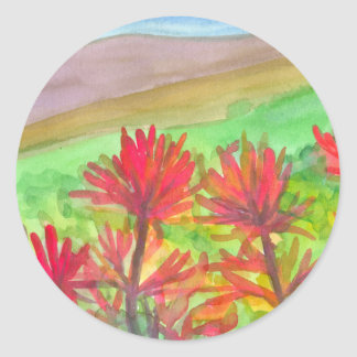 Indian Paintbrush Watercolor Wildflowers Classic Round Sticker