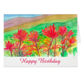 Indian Paintbrush Wildflowers Happy Birthday Card