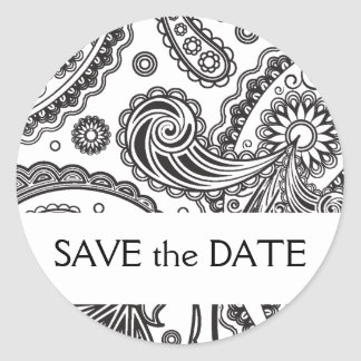 Indian Paisley Save the Date Round Sticker