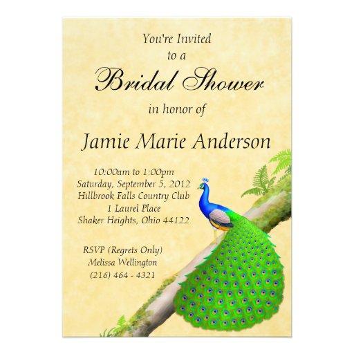 Indian Peacock Bridal Shower Invitation