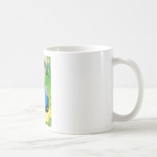 Indian Peafowl among narcissus flowers Coffee Mug