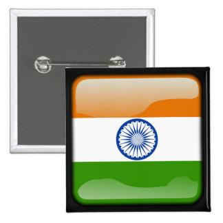 Indian polished flag 15 cm square badge