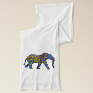 Indian print elephant on jersey scarf