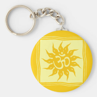 Indian Religious Symbol : Om and Surya Basic Round Button Key Ring