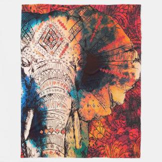 Indian Sketched Elephant Fleece Blankets