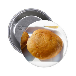 Indian snack food oily pinback button