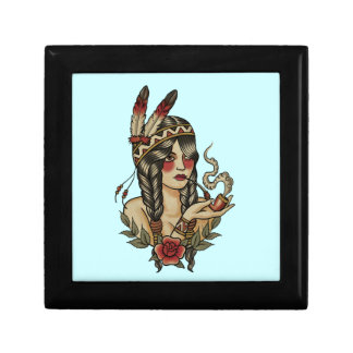 Indian squaw smoking a pipe small square gift box