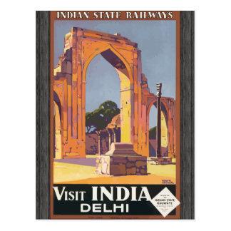 Indian State Railways Visit India Delhi, Vintage Post Card