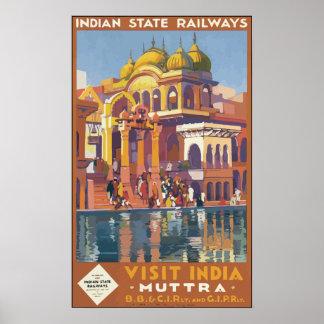 Indian State Railways Visit India , Vintage Poster