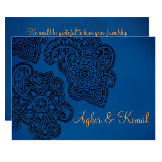 Indian Style Wedding RSVP card with Henna Motifs
