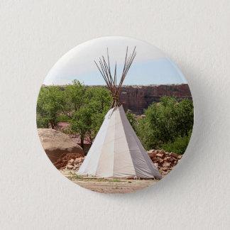 Indian teepee, pioneer village, Utah 6 Cm Round Badge