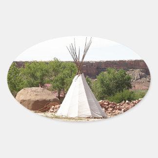 Indian teepee, pioneer village, Utah Oval Sticker