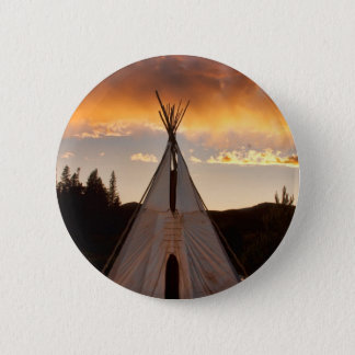 Indian Teepee Sunset vertical image 6 Cm Round Badge