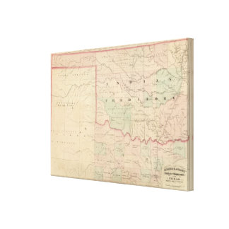 Indian Territory and Texas, North West Portion Gallery Wrap Canvas