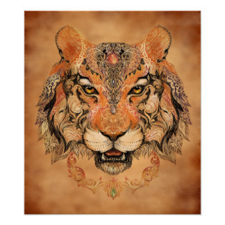 Indian Tiger Tattoo Poster
