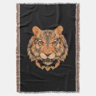 Indian Tiger Tattoo Throw Blanket
