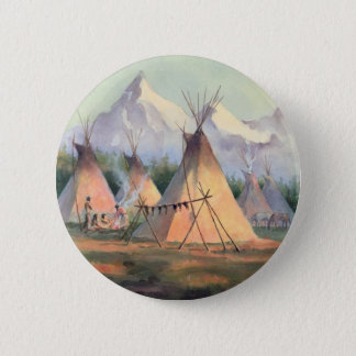 INDIAN TIPI CAMP by SHARON SHARPE 6 Cm Round Badge
