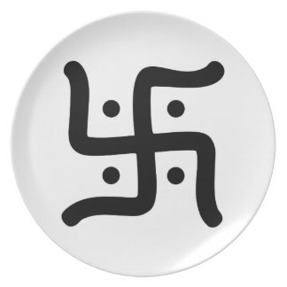 indian traditional hindu swastika symbol religion plate