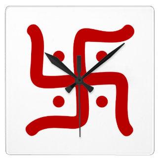 indian traditional hindu swastika symbol religion square wall clock