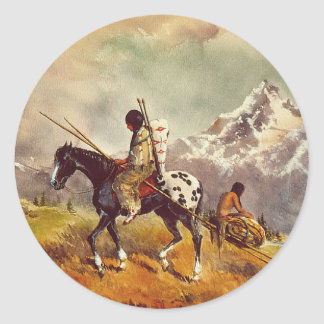INDIAN TRAVOIS by SHARON SHARPE Classic Round Sticker