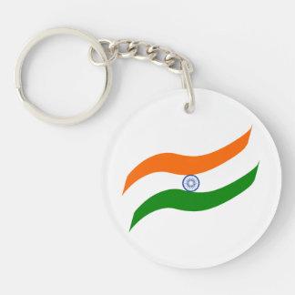 Indian undulating flag Single-Sided round acrylic key ring