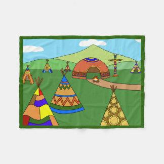 Indian Village Fleece Blanket