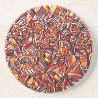Indian War Party Sandstone Coaster