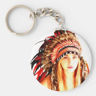 Indian warrior basic round button key ring