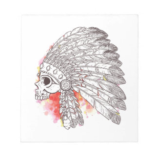 Indian Warrior Skull Watercolor Notepad
