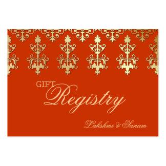 Indian Wedding Gift Registration Card Orange Gold Business Card Templates