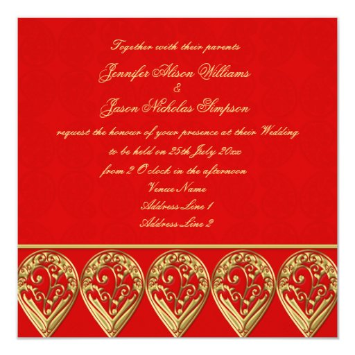 Red And Gold Muslim Wedding Invitation Card Ssc10r: Indian Wedding Invitation Red & Gold Paisley
