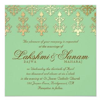 Indian Wedding Invite Damask Gold Spring Green