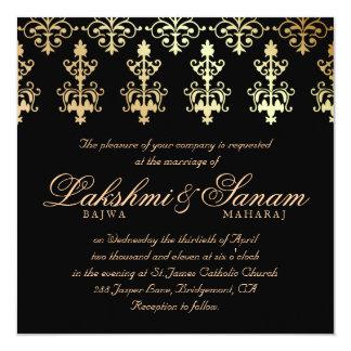 "Indian Wedding Invite Damask Gold Winter Black 5.25"" Square Invitation Card"