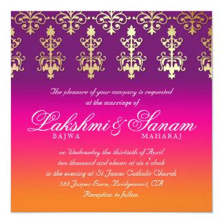 Indian Wedding Invite Damask Pink Purple Orange