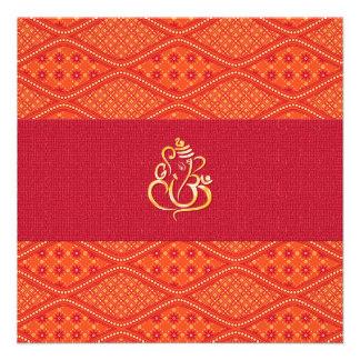 Indian Wedding Red And Orange Batik Pattern Custom Invite