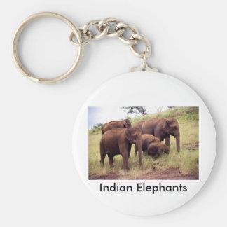 Indian wild elephants basic round button key ring