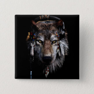 Indian wolf - gray wolf 15 cm square badge