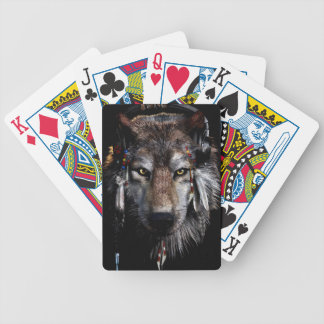 Indian wolf - gray wolf bicycle playing cards