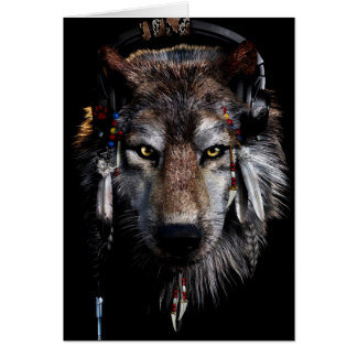 Indian wolf - gray wolf card